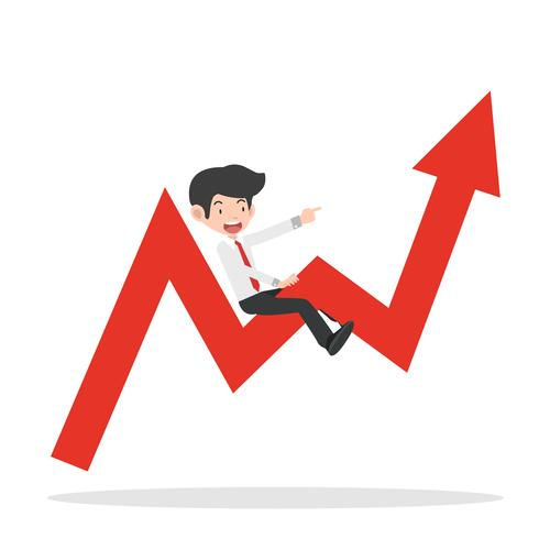 Geschäftsmannfahrt auf dem Diagrammpfeil, der steigt