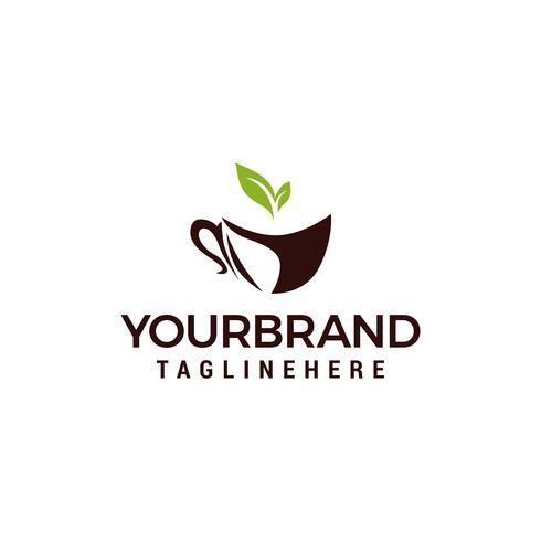 Vector icono símbolos naturaleza Eco café con elementos de plantilla de diseño de logotipo de hoja