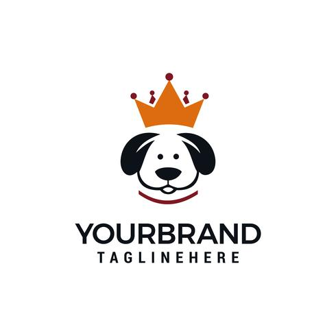 concept de conception de logo roi chien, modèle de conception de logo chien couronne vecteur