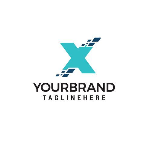 Logo di lettera X tecnologia, modello di disegno di logo di lettera X Pixel Vettori