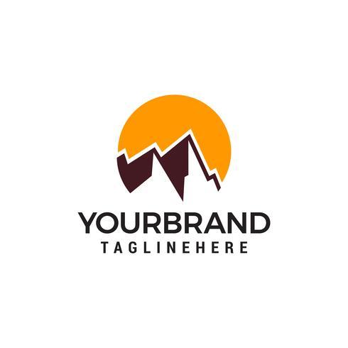 vettore di sole di montagna Modello di disegno vettoriale logo