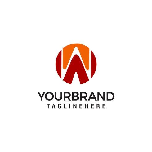 Letter W-logo, cirkel vormsymbool Logo sjabloon vector