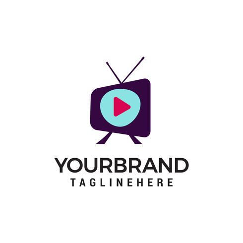 vector de plantilla de concepto de diseño de logotipo de televisión de medios
