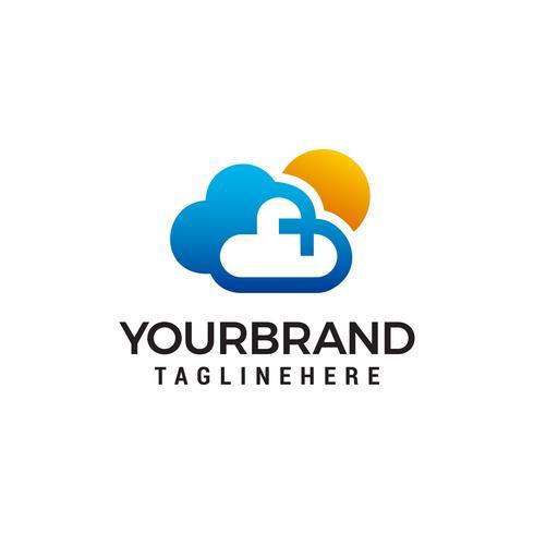 Nube y sol logo diseño concepto plantilla vector