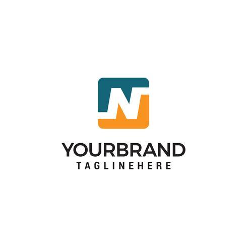 Quadrate des Buchstaben N Logo Design Template