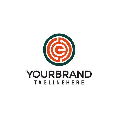 lettre e technologie logo design concept template vecteur