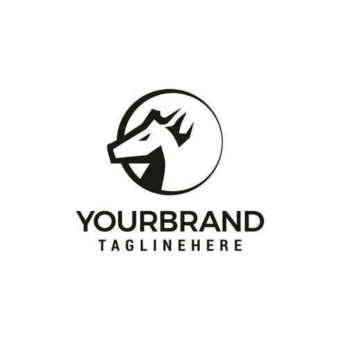 Elementos de plantilla de diseño de logotipo de Head Horse vector
