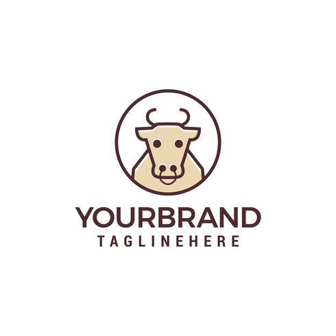 Vache ligne logo design concept template vecteur