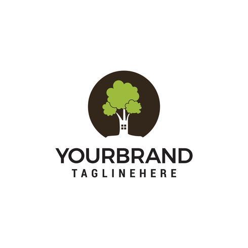 Árbol de la casa logo vector plantilla de diseño