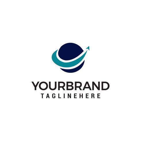 Modèle de logo d'entreprise finance mondiale. globe avec logo vectoriel flèche modèle de conception