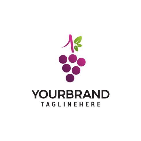 Vector de plantilla de concepto de diseño de logotipo de uva