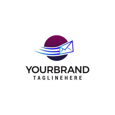 Meddelande Kuvert skickat logo design koncept mall vektor