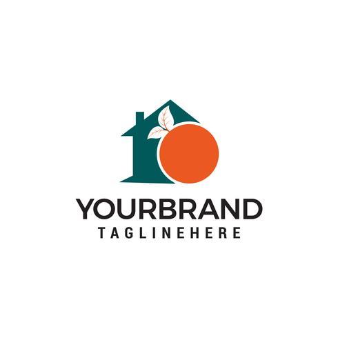Modello di vettore di House Orange Fruit Logo design