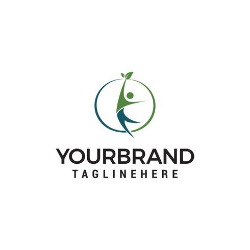 Human Leaf healthy Logo designs template