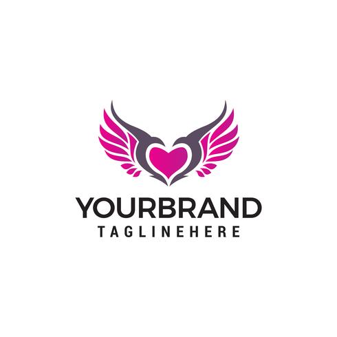 kärlek vingar logo design koncept mall vektor