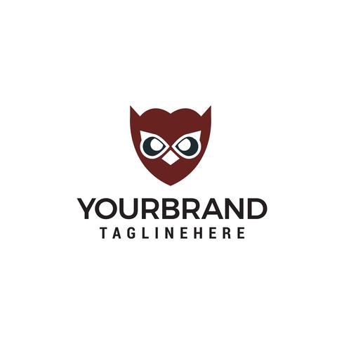 vetor de modelo de conceito de design de logotipo de cara de coruja