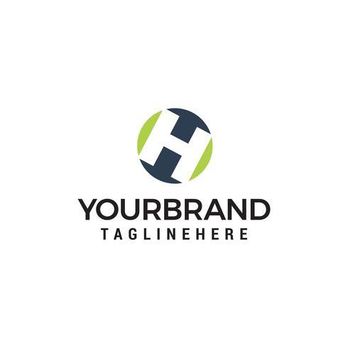 letter h Circle shape symbol logo technology design concept temp