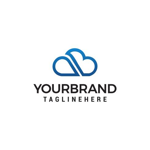 cloud line letter ab logo designs template vector