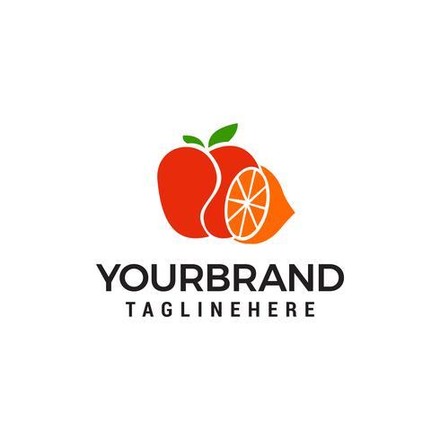 logotipo de maçã laranja modelo vector ícone do design