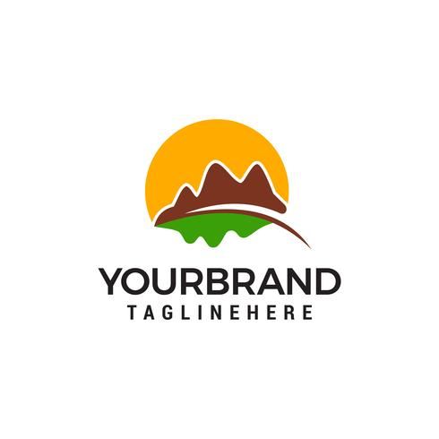 Mountain hills logo design concept template vector