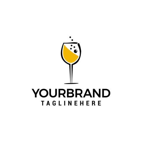 Glas wijn logo ontwerpconcept