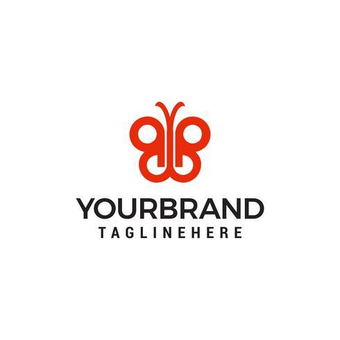 Plantilla de logotipo de doble letra B de mariposa vector