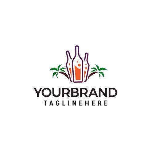Bar y discoteca en vector de plantilla de concepto de diseño de logotipo de playa