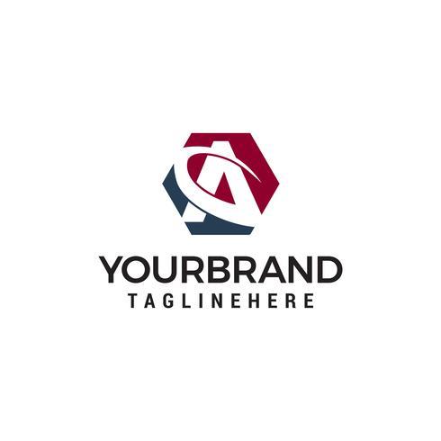 Carta un vector de plantilla de concepto de diseño de logotipo hexagonal