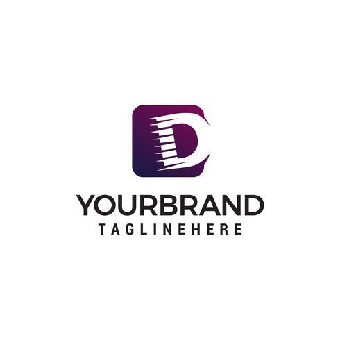 lettre d logo forme carrée design concept template vecteur