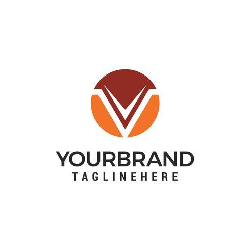 Letter V cirkel logo ontwerp sjabloon elementen