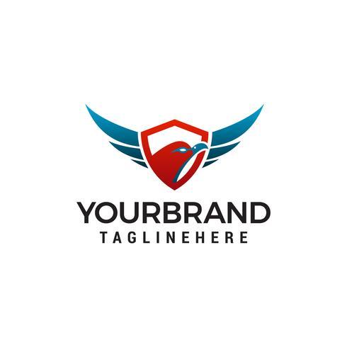 Eagle huvudsköld logo design koncept mall vektor