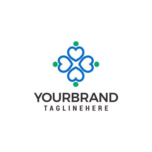 Anteilliebesherzleute kreisen Logovektor-Designschablone ein