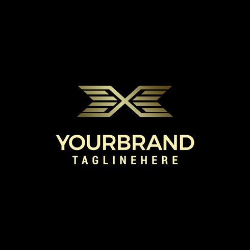 Lettre de luxe x avec modèle de dessins logo ailes