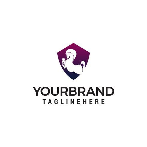 Caballo escudo logotipo diseño concepto plantilla vector