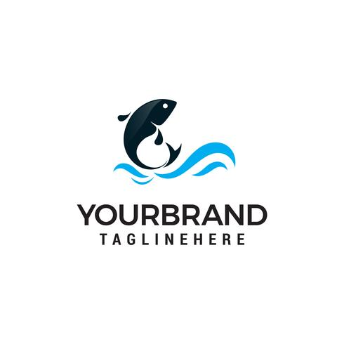 Dolphin jumping above waves logo design concept template vector