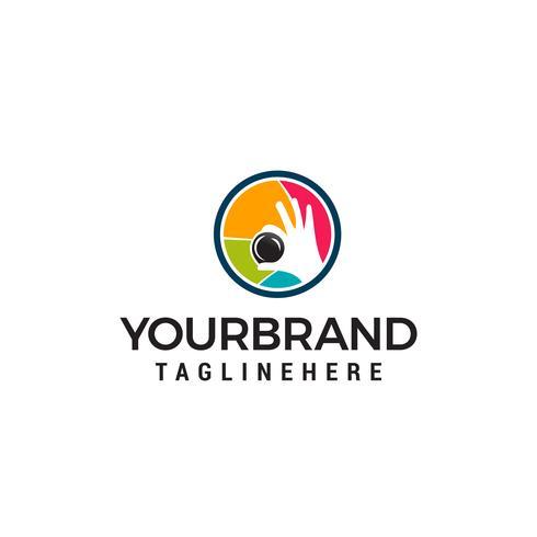 Fotografia atirar logo design conceito modelo vector