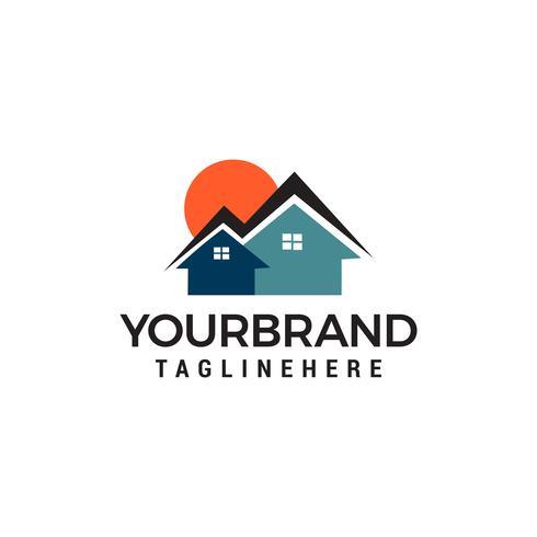 zon huizen logo Onroerend goed Logo ontwerpen Sjabloon vector