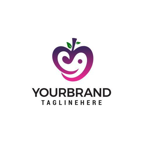 amor fruta logotipo design conceito modelo vector