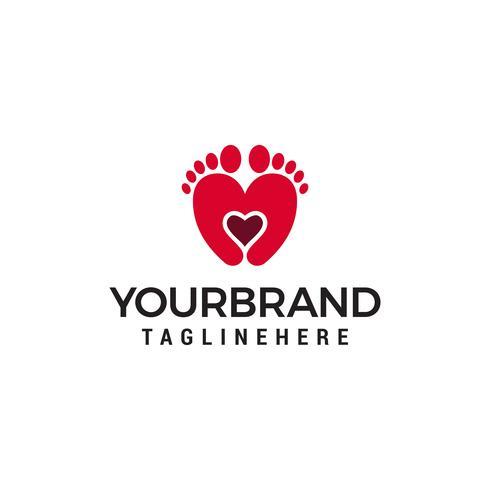 Vector de plantilla de concepto de diseño de logotipo de dos pies y corazón