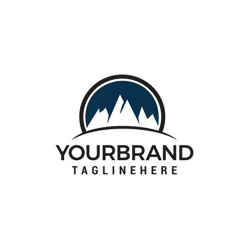 Mountain circle logo design concept template vecteur