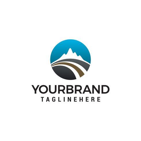 Road mountain logo design concept template vector