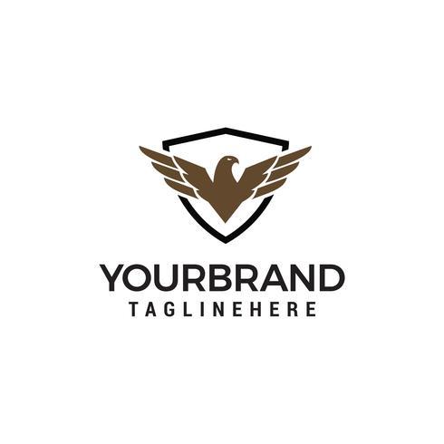 eagle wings shield logo design concept template vector