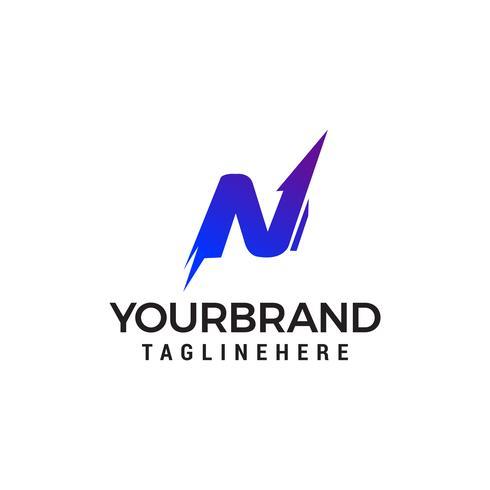 Modello di progettazione icona logo lettera n