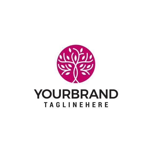 boom met bladeren in een cirkel, boom eenvoudige Logo ontwerpen sjabloon