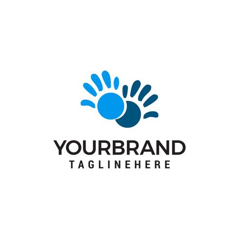Vector Hand care Childish Support symbol. Two hands Design Template