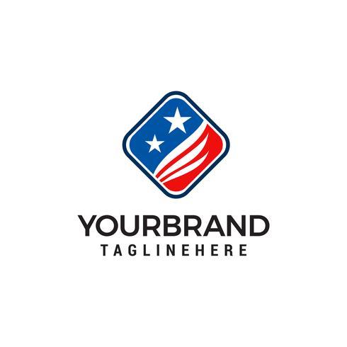 Vector de plantilla de concepto de diseño de logotipo americano de alas