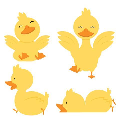 Lindo juego de caracteres pato amarillo vector