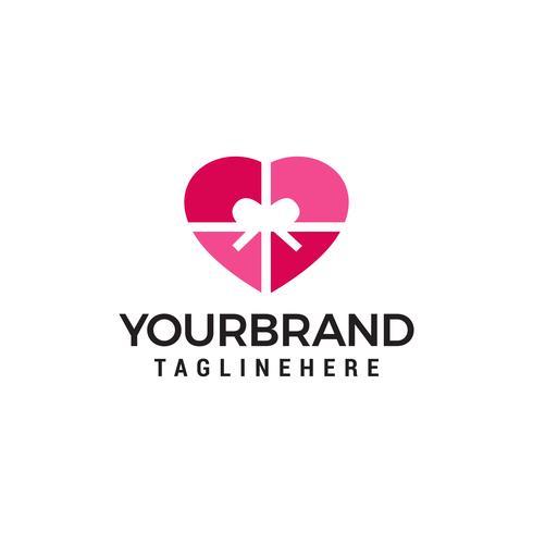 Vecteur de coeur cadeau logo design concept