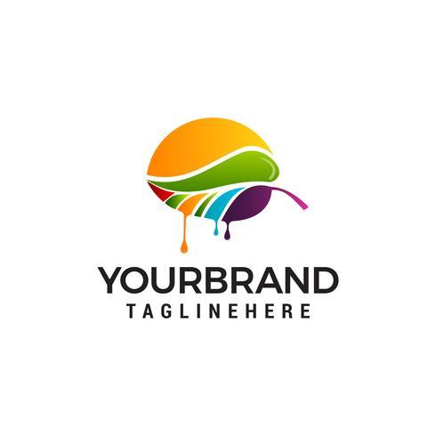 Feuille colorée peinture logo design concept template vecteur