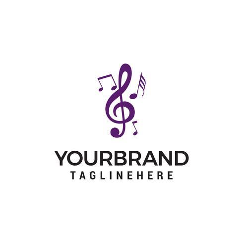 Musik noter symboler logo design koncept